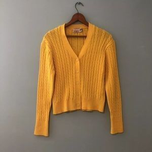 Vtg 60s Bright Cable Knit Mod Cardigan Sweater S